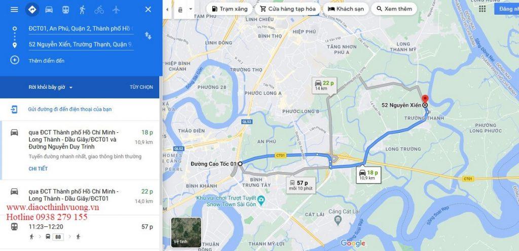 Từ Nút giao thông An Phú về nhà phố 52 Nguyễn Xiển chỉ khoảng 20 phút.