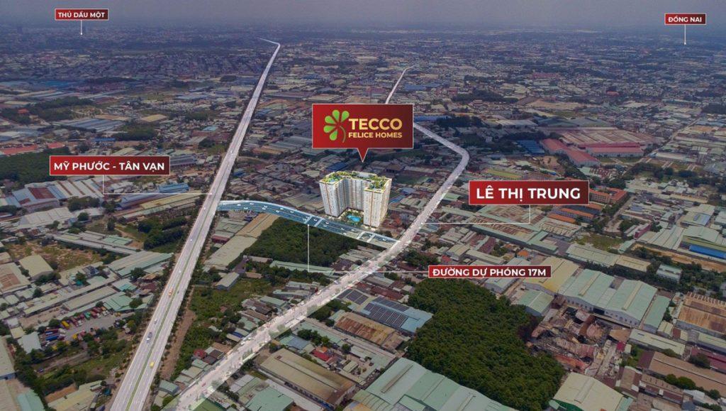 Vị trí dự án Tecco Felice Homes Thuận An