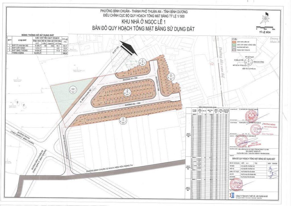 Sơ đồ chi tiết trên quy hoạch 1/500 của dự án nhà ở Ngọc Lễ 1