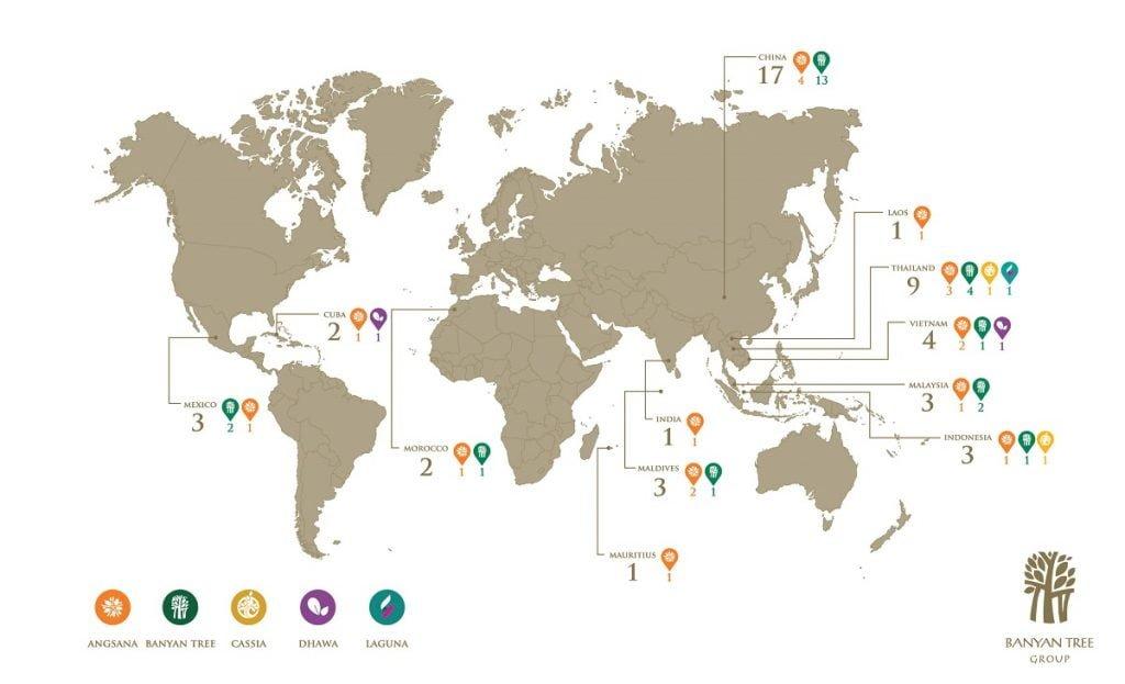 Các điểm đến toàn cầu trong hệ thống Banyan Tree Group