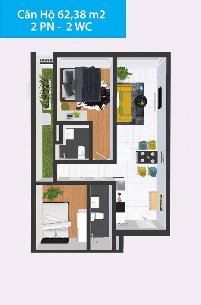 Căn hộ 2PN 62,38m2 Topaz Home 2
