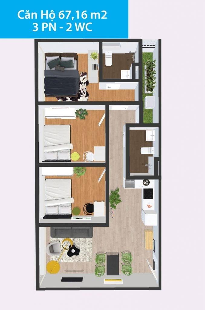 Căn hộ 3PN 67,16m2 Topaz Home 2