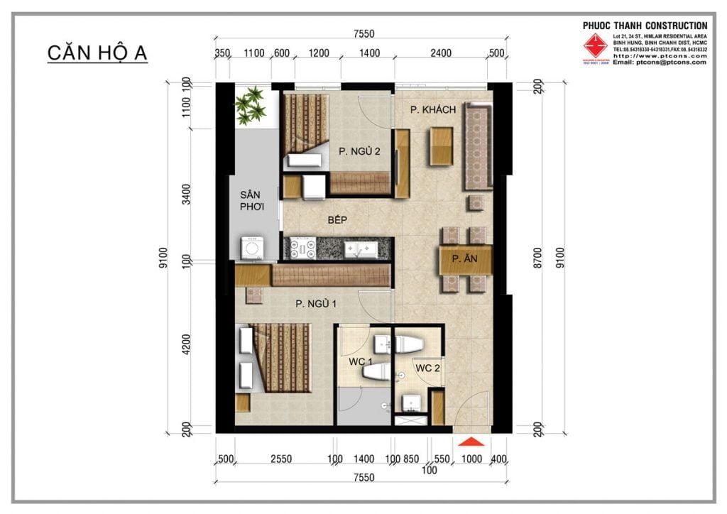 Thiết kế căn hộ A 2PN, 2WC Centana Thủ Thiêm