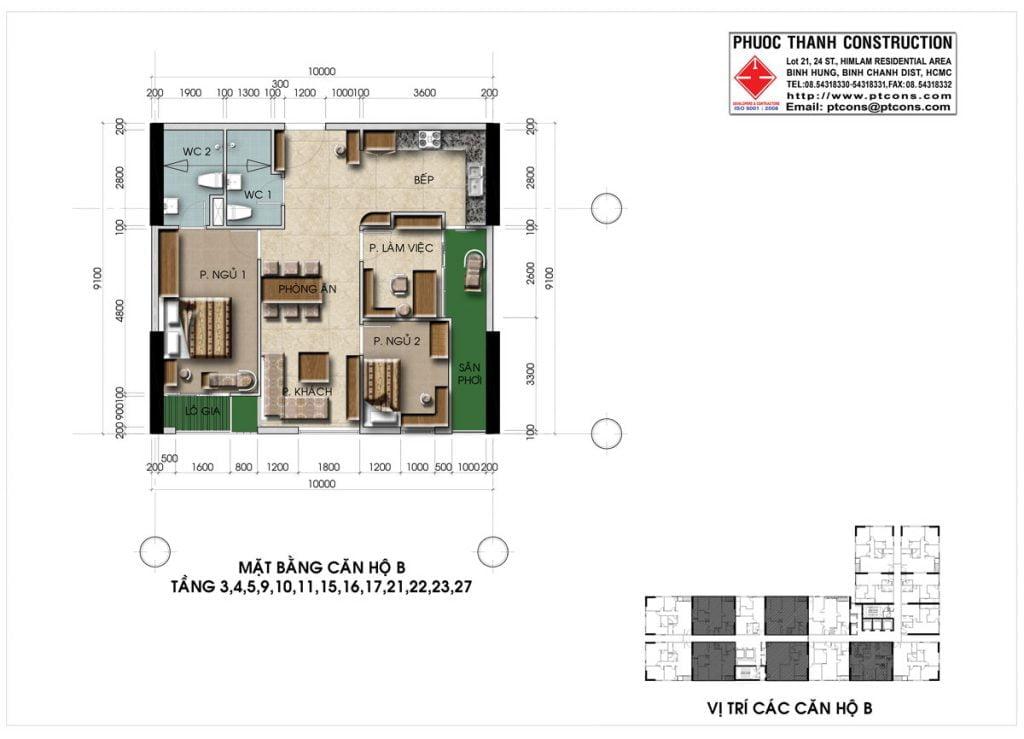 Thiết kế căn hộ B 3PN, 2WC Centana Thủ Thiêm
