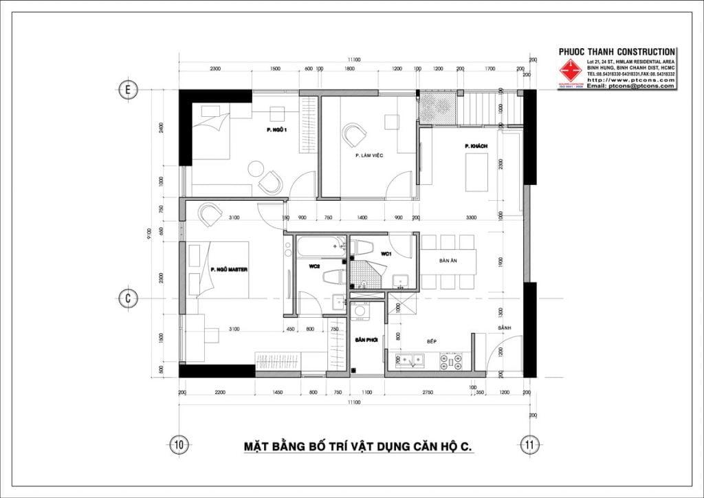Thiết kế căn hộ C 3PN, 2WC Centana Thủ Thiêm