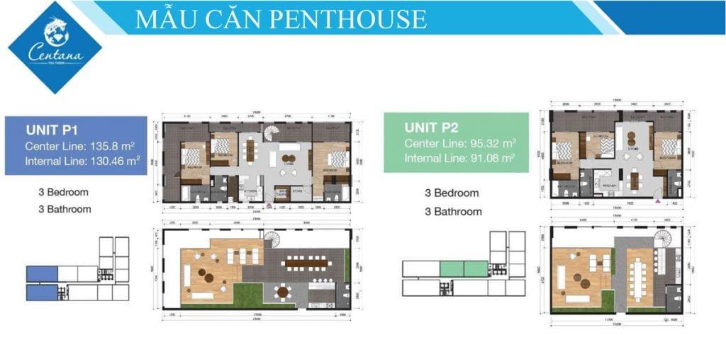 Thiết kế penthouse P1 & P2 3PN, 3WC Centana Thủ Thiêm