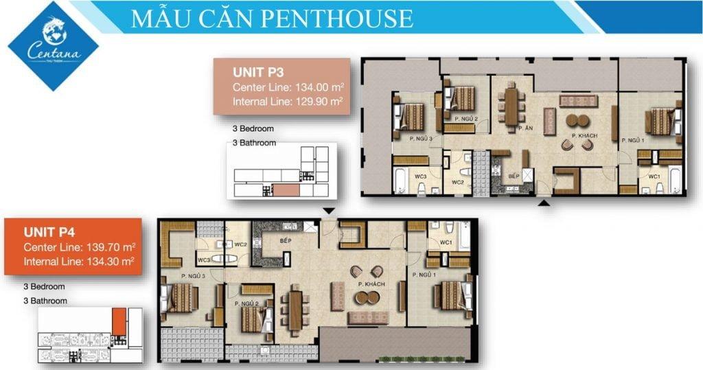 Thiết kế penthouse P3 & P4 3PN, 3WC Centana Thủ Thiêm