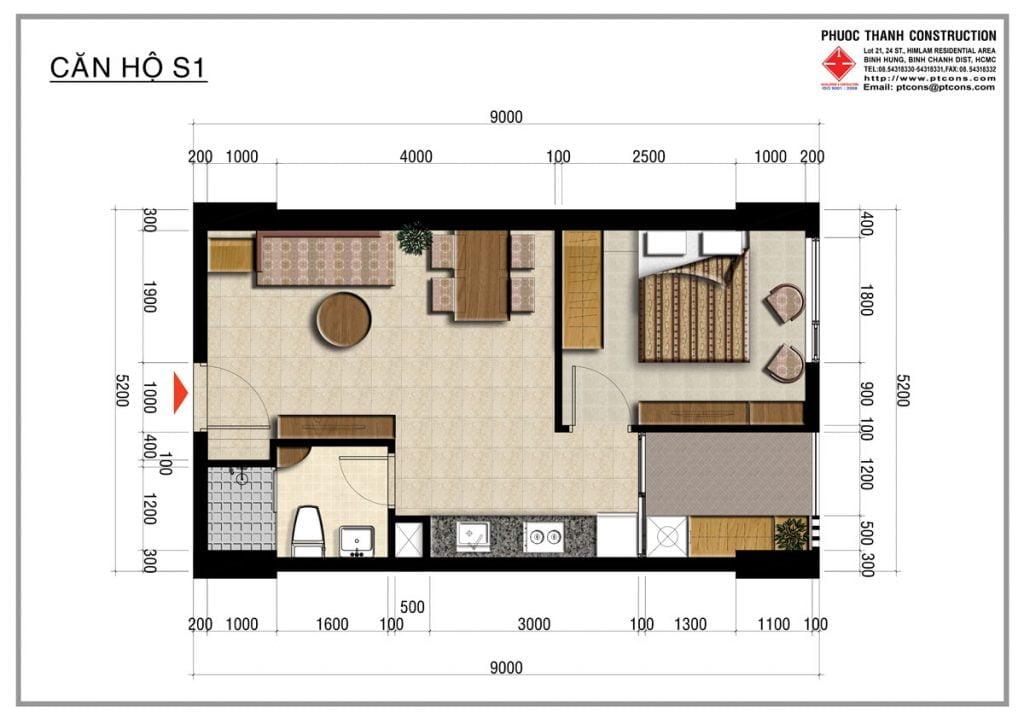 Thiết kế căn hộ S1 1PN, 1WC Centana Thủ Thiêm