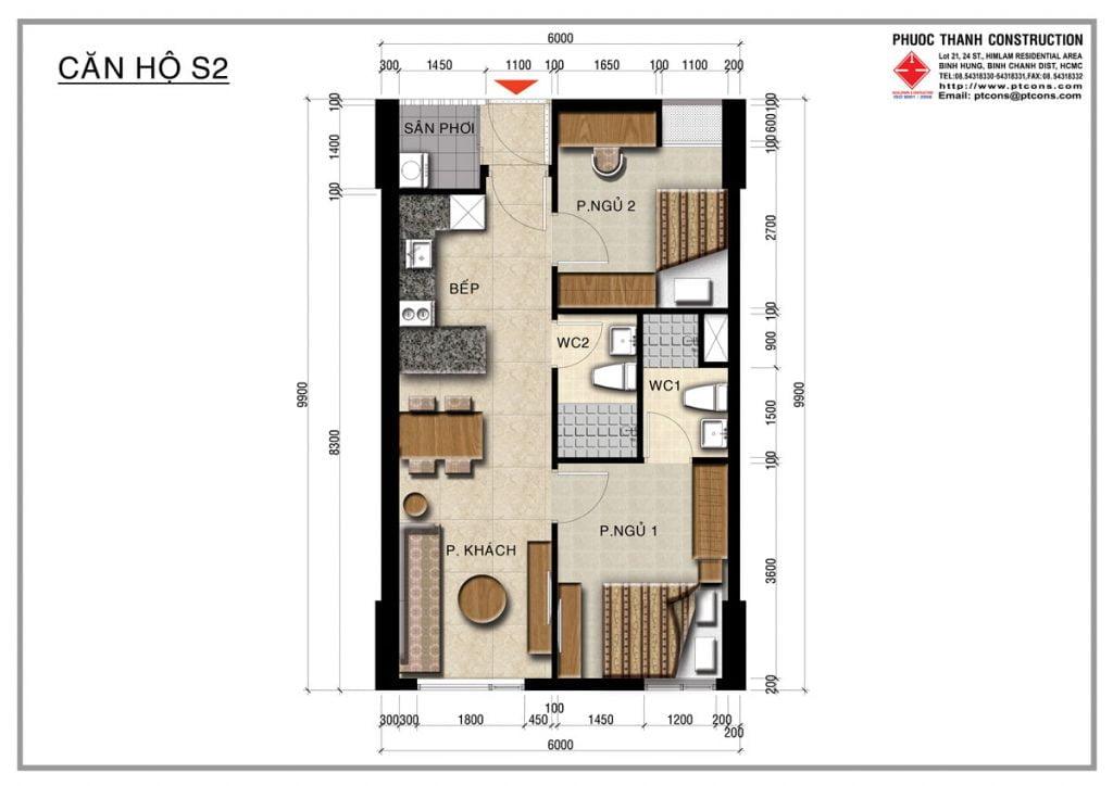 Thiết kế căn hộ S2 2PN, 2WC Centana Thủ Thiêm