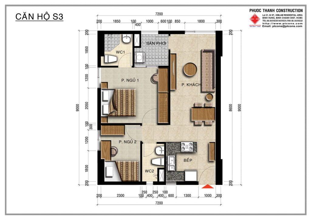 Thiết kế căn hộ S3 2PN, 2WC Centana Thủ Thiêm