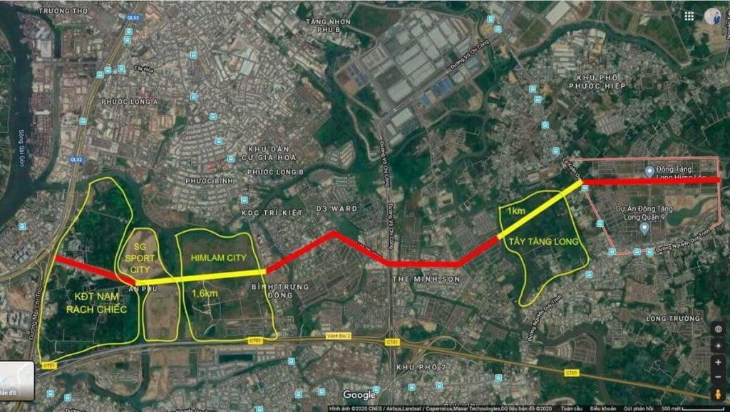 Đường Liên Phường kết nối trực tiếp Đông Tăng Long đến Khu Saigon Sports City