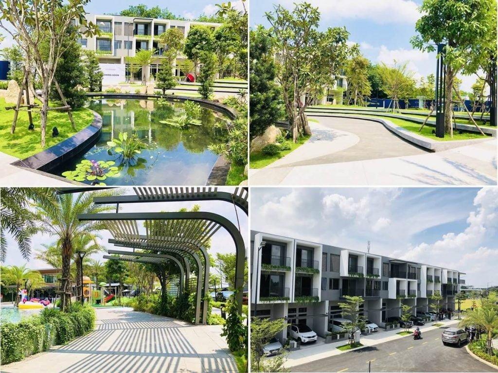Hình ảnh thực tế xung quanh khu công viên trung tâm dự án nhà phố The Standard Bình Dương
