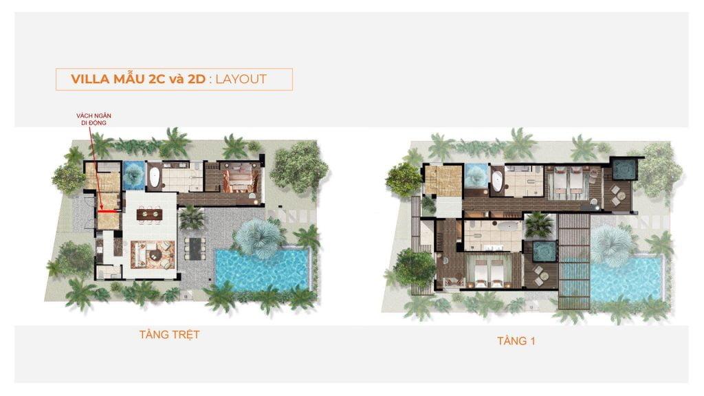 Layout villa Triple Keys 2C, 2D Angsana Residences