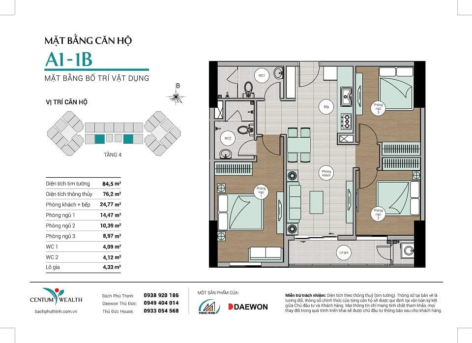 Mặt bằng căn hộ A1-1B Centum Wealth