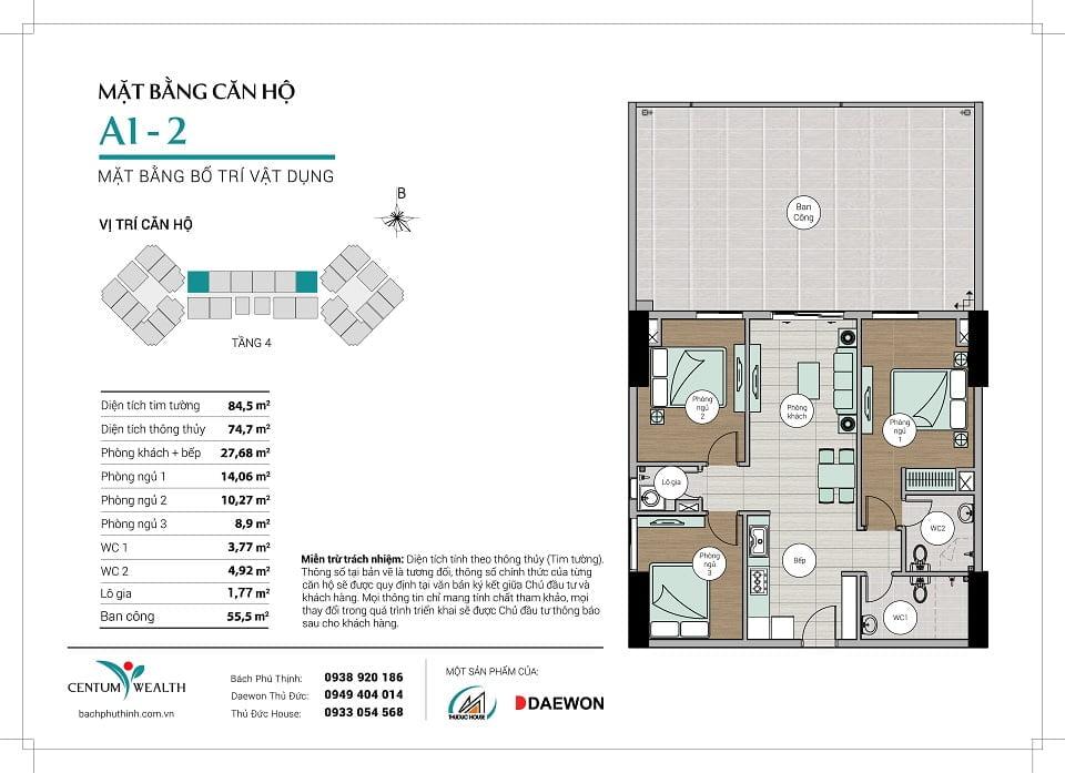 Mặt bằng căn hộ A1-2 Centum Wealth