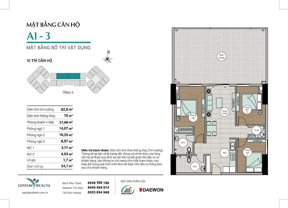Mặt bằng căn hộ A1-3 Centum Wealth