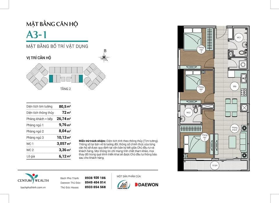 Mặt bằng căn hộ A3-1 Centum Wealth