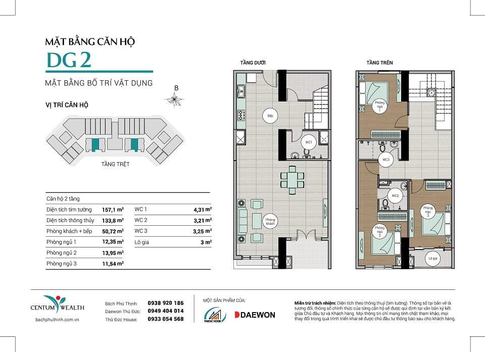 Mặt bằng căn hộ Duplex DG2 Centum Wealth