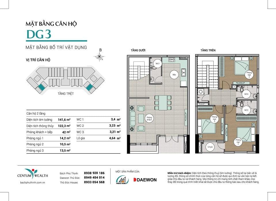 Mặt bằng căn hộ Duplex DG3 Centum Wealth