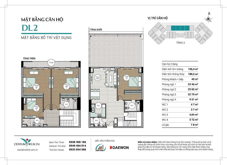 Mặt bằng căn hộ Duplex DL2 Centum Wealth