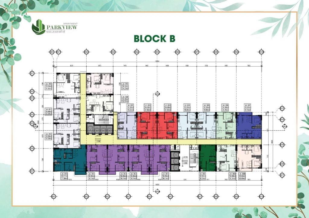 Mặt bằng block B Parkview Thuận An