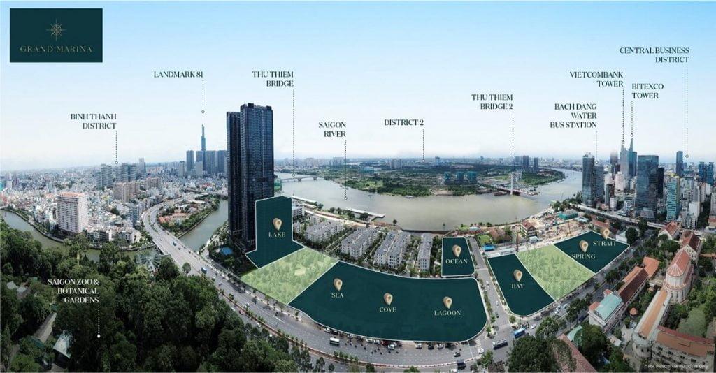 Vị trí các tòa tháp dự án Grand Marina Quận 1