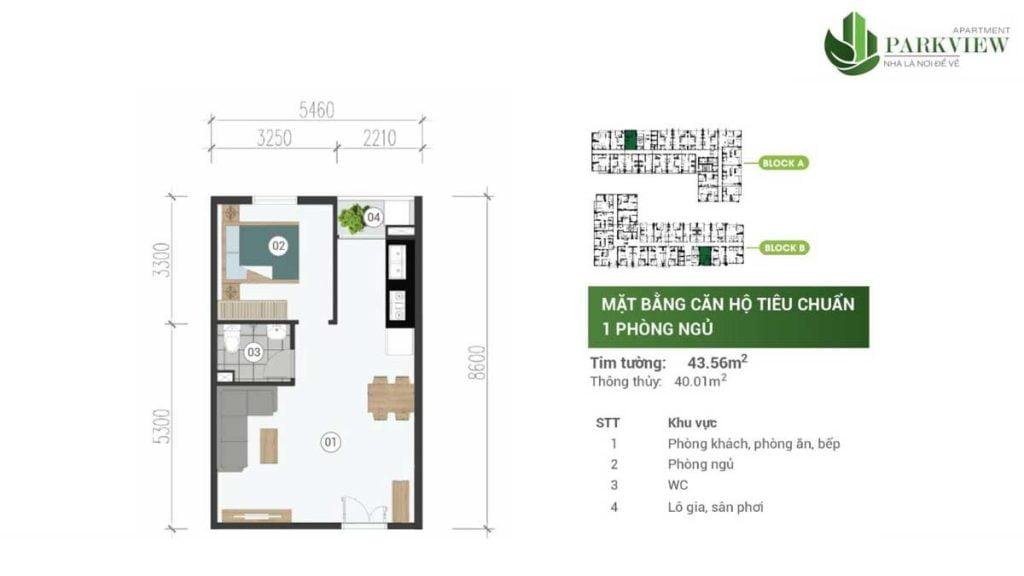 Thiết kế căn hộ 1PN 43.56m2 Parkview