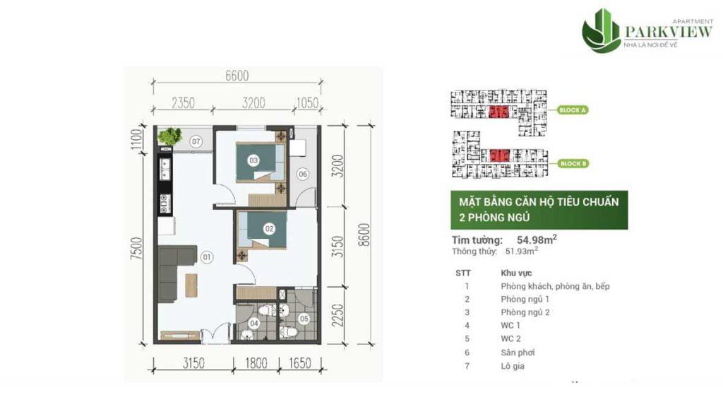 Thiết kế căn hộ 2PN 54.98m2 Parkview