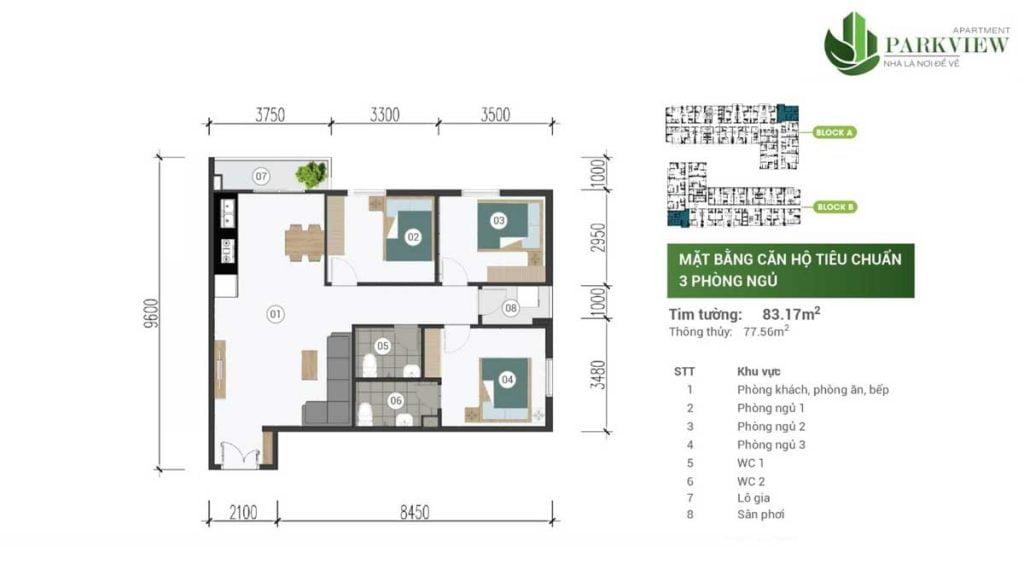 Thiết kế căn hộ 3PN 83.17m2 Parkview
