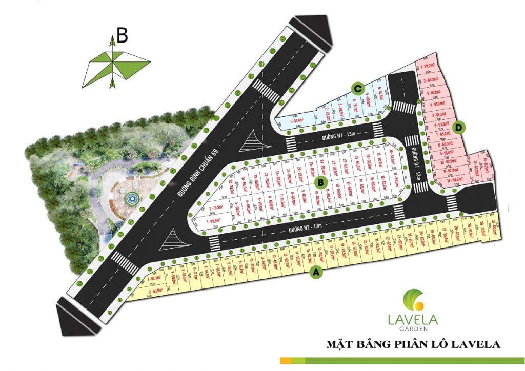 Mặt bằng phân lô chuẩn của dự án Lavela Garden