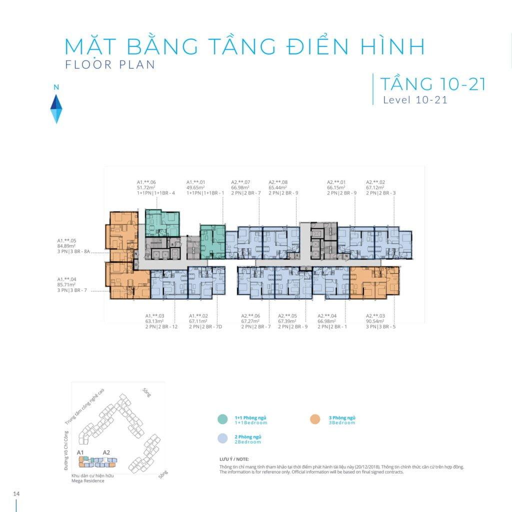 Mặt bằng tầng 10-21 Block A Safira Khang Điền