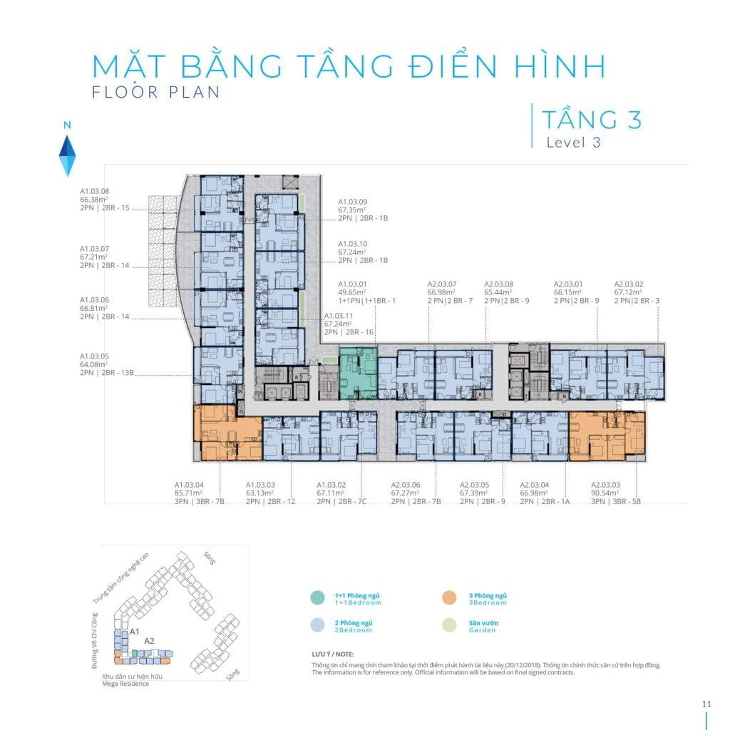 Mặt bằng tầng 3 Block A Safira Khang Điền