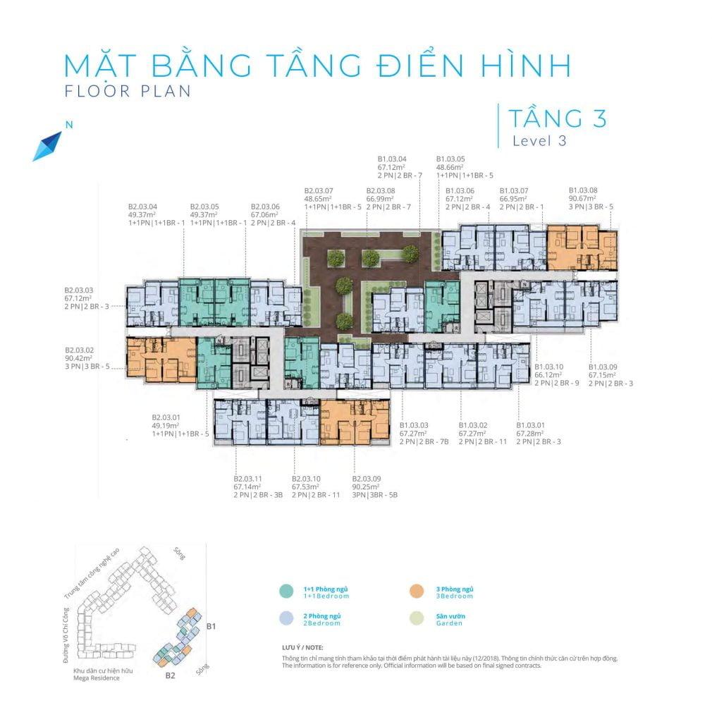 Mặt bằng tầng 3 Block B Safira Khang Điền