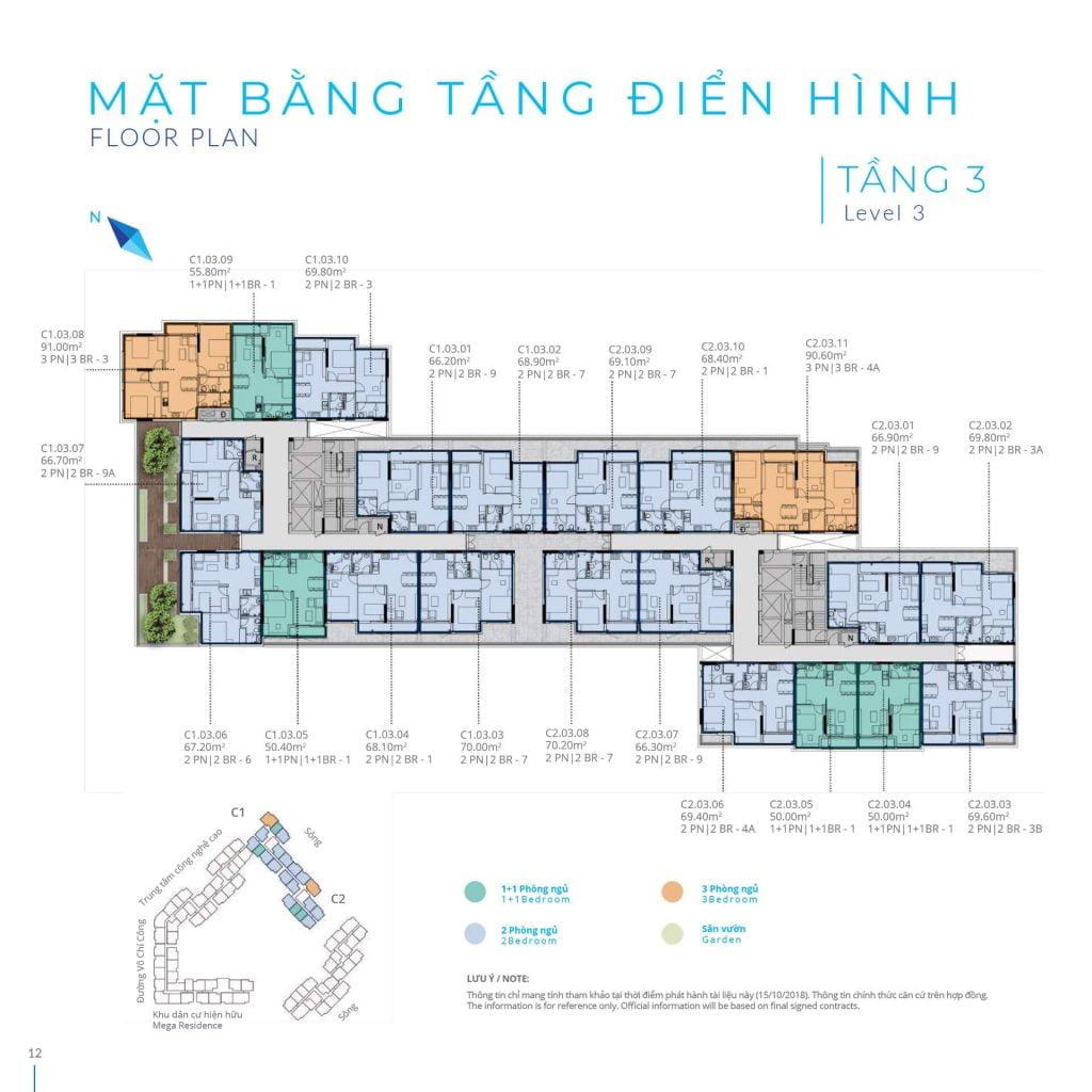 Mặt bằng tầng 3 Block C Safira Khang Điền
