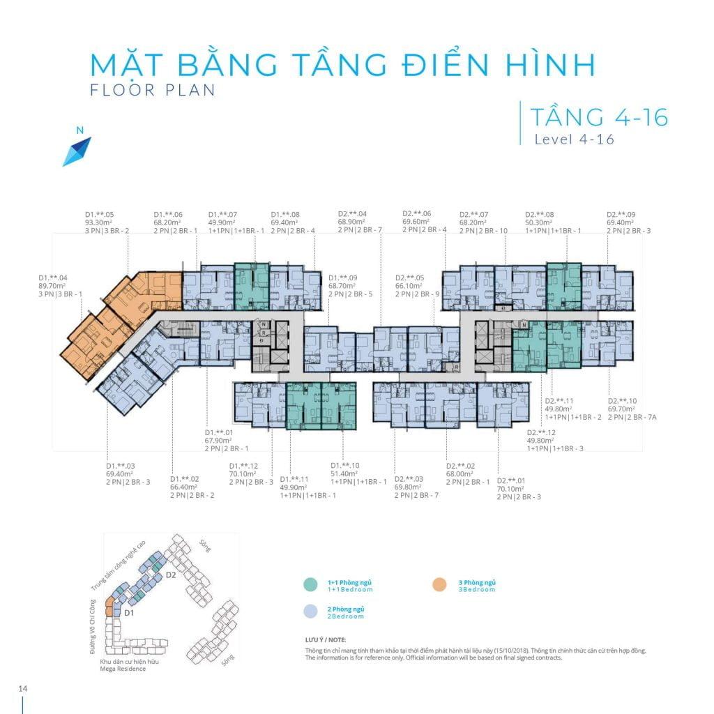 Mặt bằng tầng 4-16 Block D Safira Khang Điền