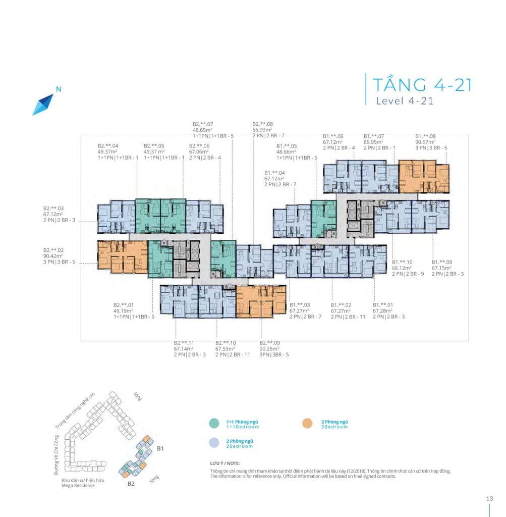 Mặt bằng tầng 4-21 Block B Safira Khang Điền