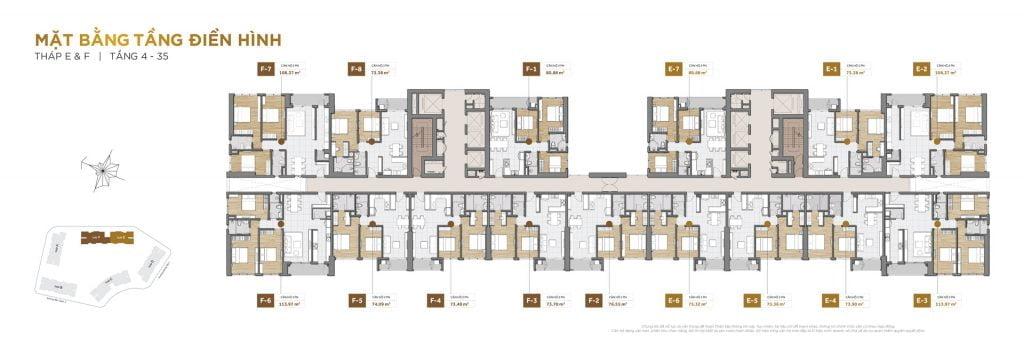 Mặt bằng tầng 4-35 block E và F The Palace Residence