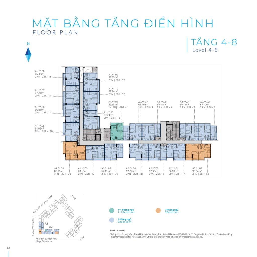 Mặt bằng tầng 4-8 Block A Safira Khang Điền