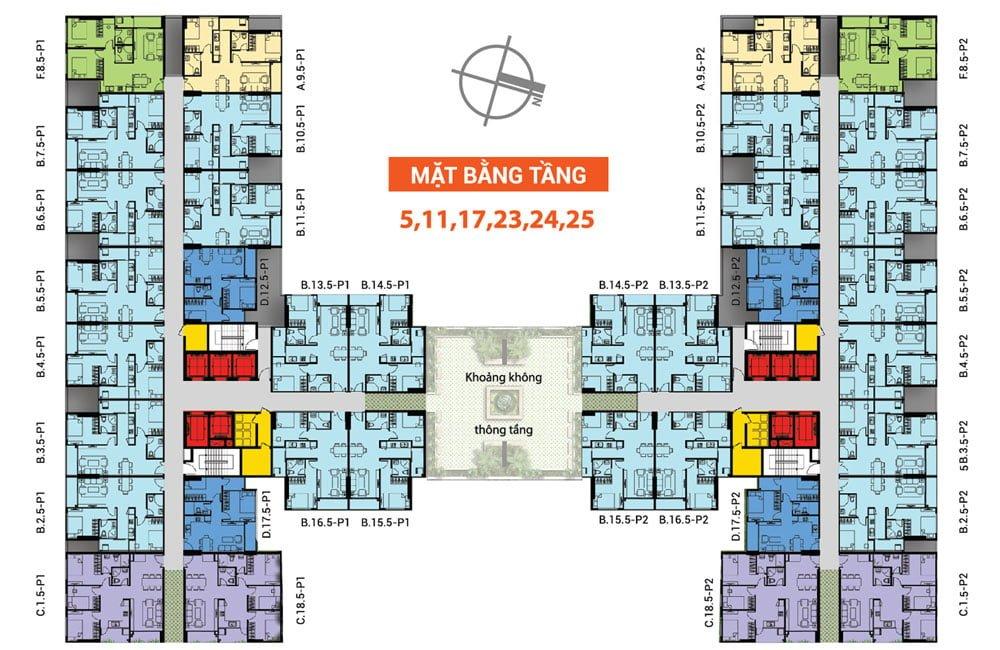 Mặt bằng tầng 5, 11, 17, 23-25 Saigon Avenue