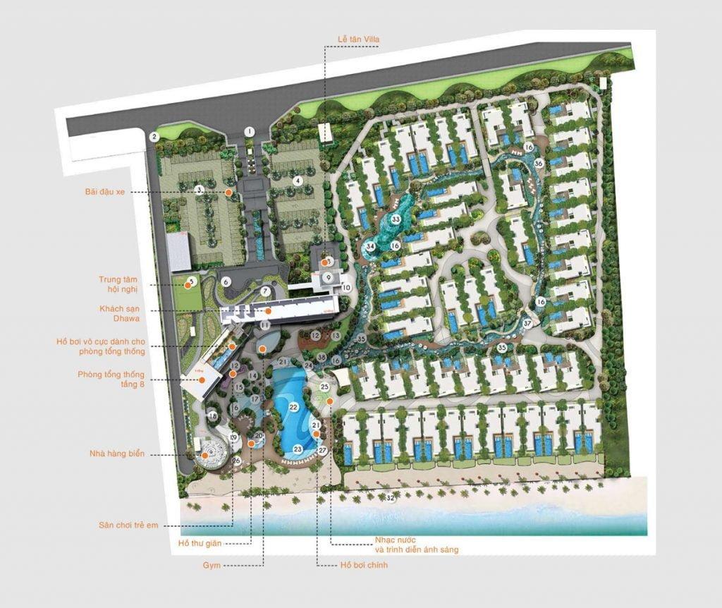 Mặt bằng tiện ích dự án Angsana Residences Hồ Tràm