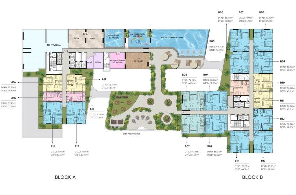 Mặt bằng tiện ích dự án D-Aqua Quận 8