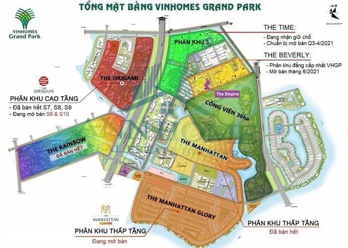 Mặt bằng các khu trong Vinhomes Grand Park