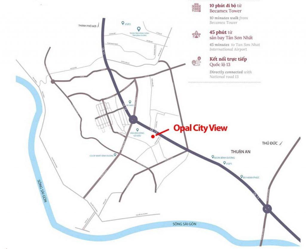 Sơ đồ liên kết vùng của căn hộ Opal Cityview Thủ Dầu Một