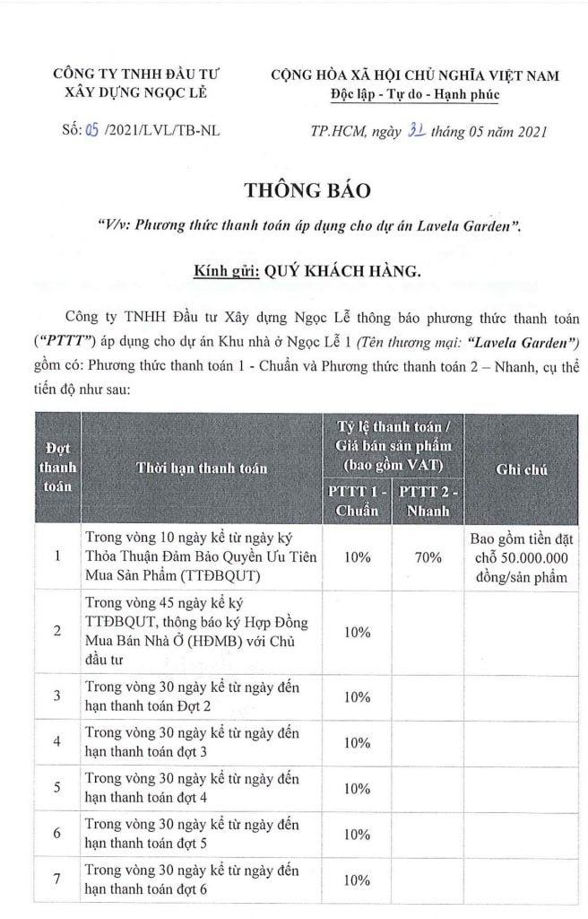 Phương thức thanh toán nhà phố Lavela Garden Thuận An