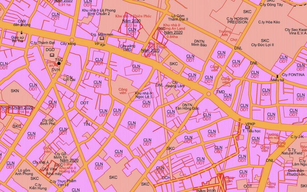 Quy hoạch mặt tiền đường Bình Chuẩn 69 của khu nhà ở Ngọc Lễ