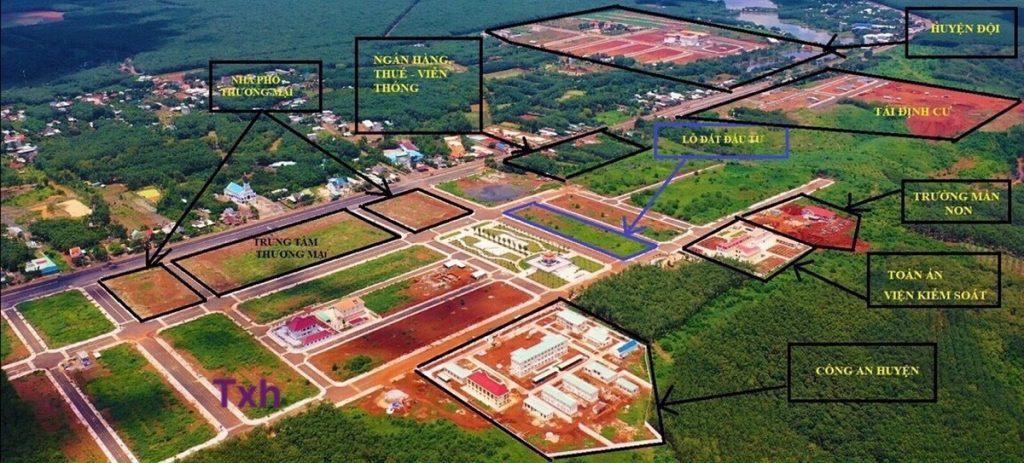 Vị trí các khu cơ quan nhà nước trong khu hành chính Phú Riềng