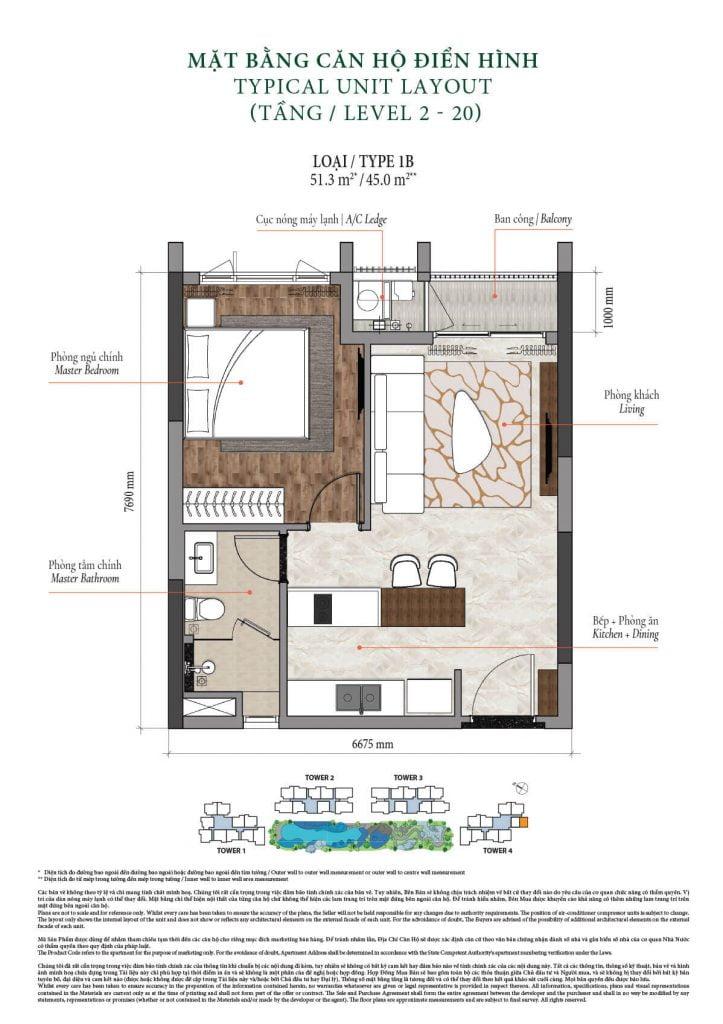 Thiết kế căn hộ 1PN, 1WC