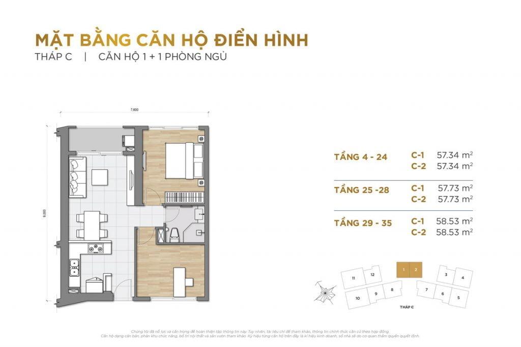 Thiết kế căn hộ 1PN+1 block C The Palace Residence