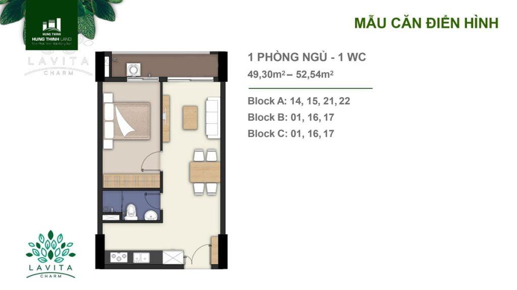 Thiết kế căn hộ 1PN Lavita Charm