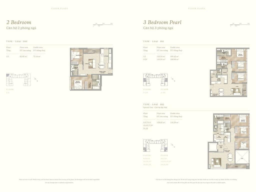 Thiết kế căn hộ 2PN & 3PN